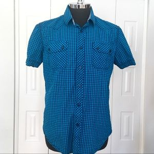 AMERICAN RAG turquoise & black slim fit shirt XL